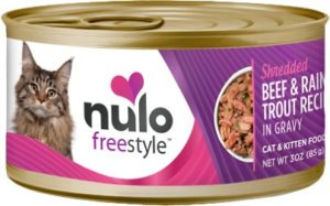 Click to open expanded view Nulo Freestyle Shredded Beef & Rainbow Trout in Gravy Grain-Free Canned Cat & Kitten Food