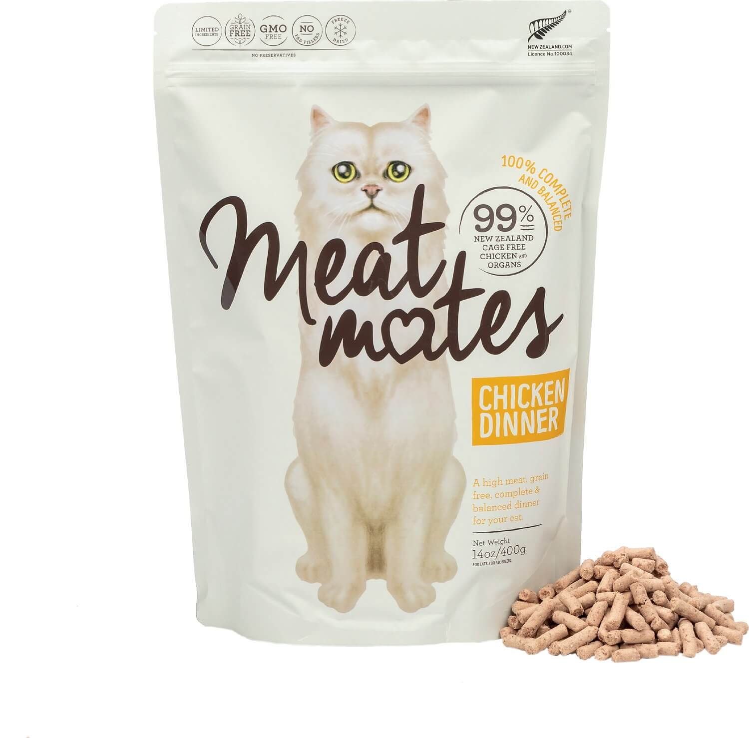 Meat Mates Chicken Dinner Grain-Free Freeze-Dried Cat Food